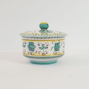 Italian Pottery Trinket Dish with Lid Hand Painted